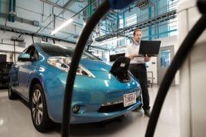 Veränderungsmanagement in der Automobilindustrie: Mitarbeiter:innen am High-Tech-Auto